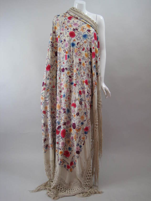 1920's Hand-Embroidered Silk Piano Shawl 2
