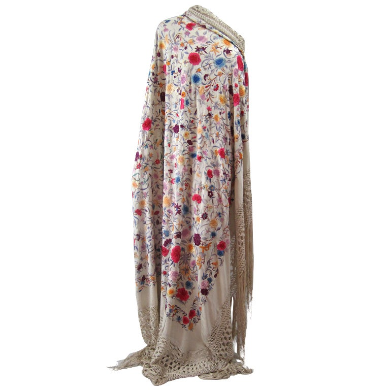 1920's Hand-Embroidered Silk Piano Shawl 1