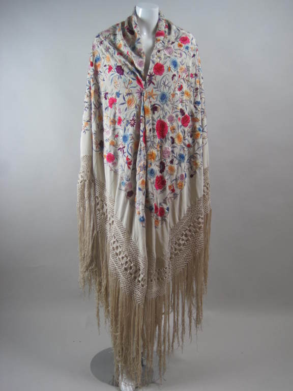 1920's Hand-Embroidered Silk Piano Shawl 4