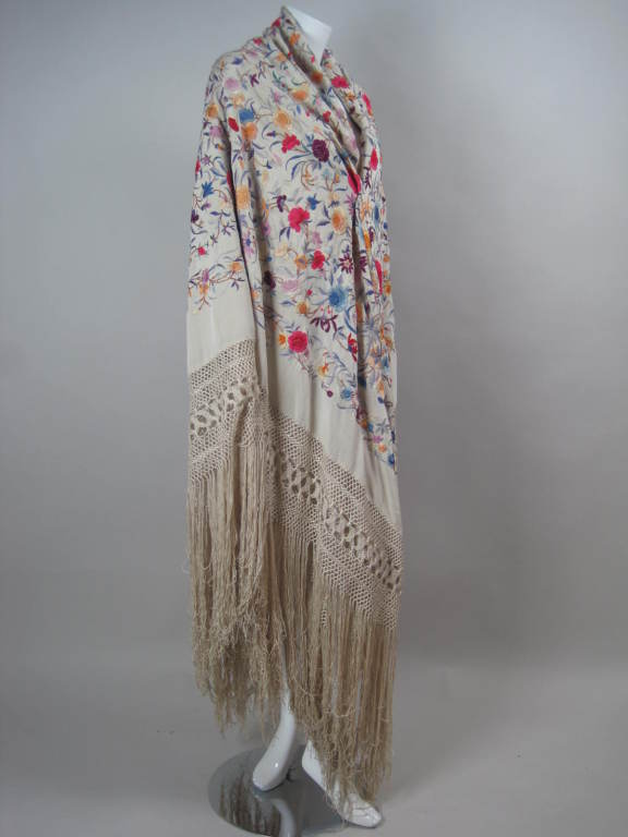 1920 S Hand Embroidered Silk Piano Shawl At 1stdibs