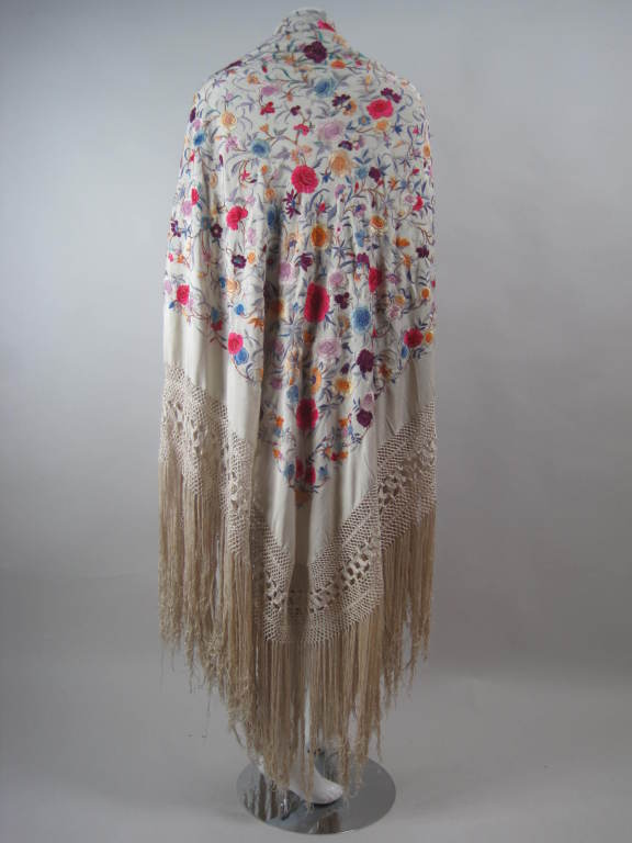 1920's Hand-Embroidered Silk Piano Shawl 6
