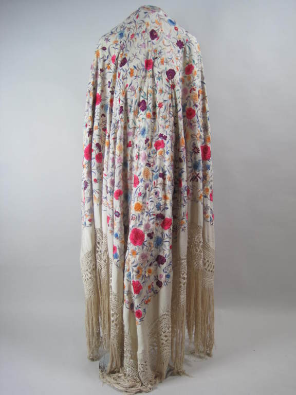 1920's Hand-Embroidered Silk Piano Shawl 7