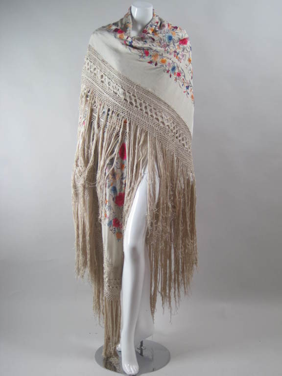 1920's Hand-Embroidered Silk Piano Shawl 8