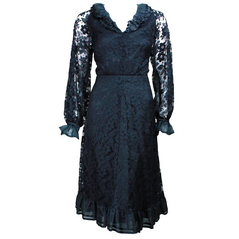 Hardy amies black lace cocktail dress for sale at 1stdibs for Costume jewelry for evening gowns
