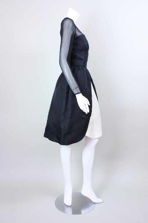 Women's 1980's Bill Blass Black and White Cocktail Dress For Sale