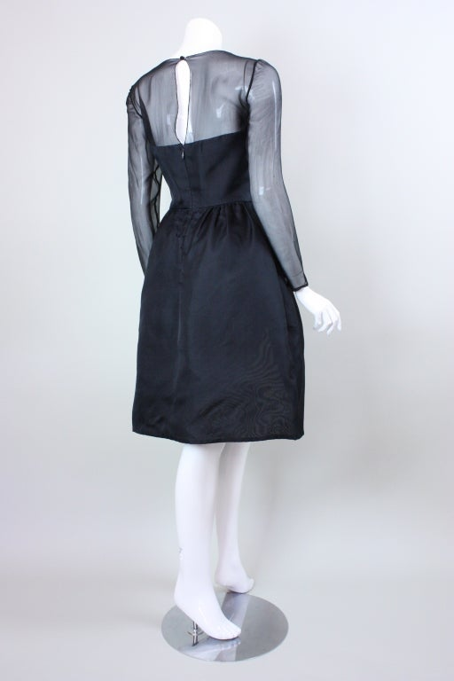 1980's Bill Blass Black and White Cocktail Dress For Sale 1