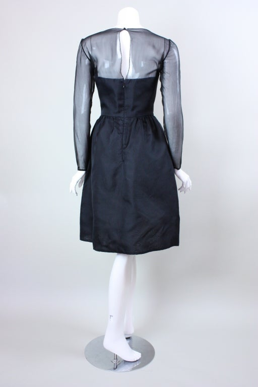1980's Bill Blass Black and White Cocktail Dress For Sale 2