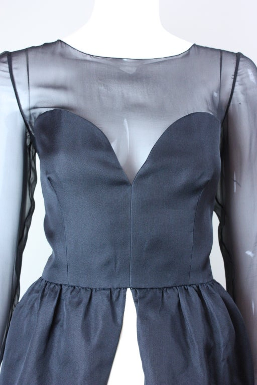 1980's Bill Blass Black and White Cocktail Dress For Sale 3
