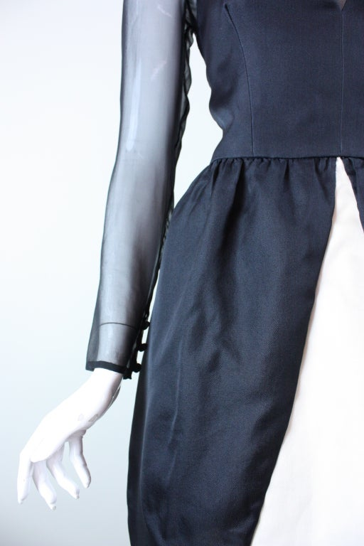1980's Bill Blass Black and White Cocktail Dress For Sale 4