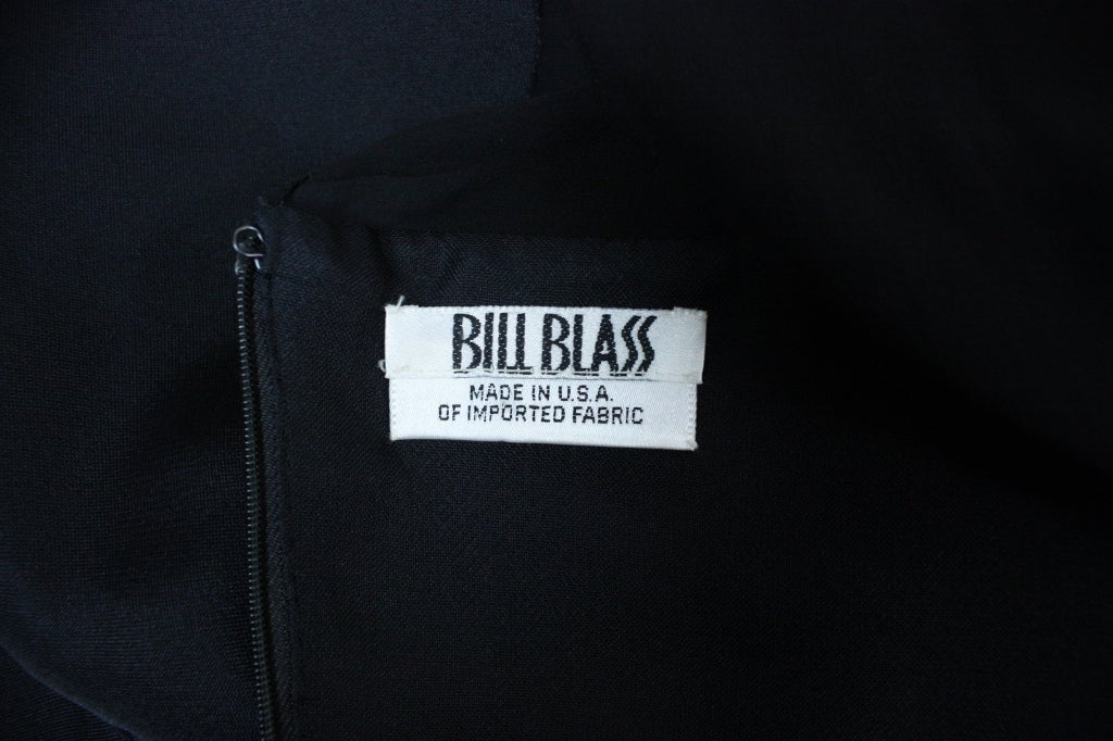 1980's Bill Blass Black and White Cocktail Dress For Sale 5