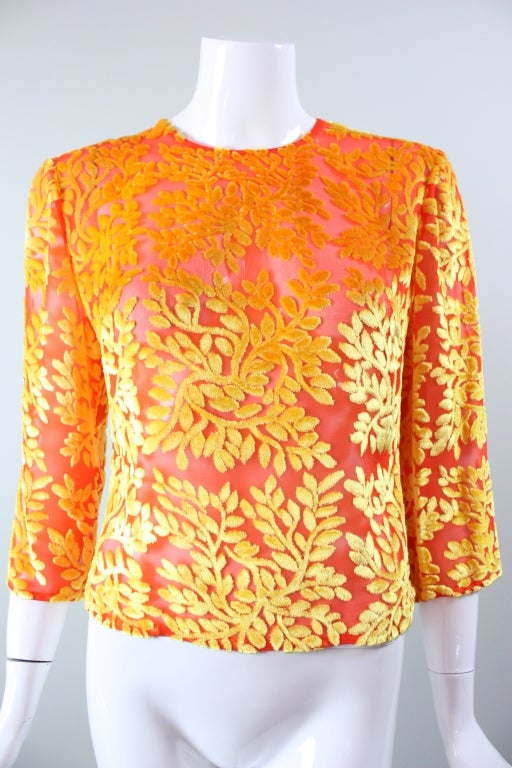 Versace Brightly-Colored Cut Velvet Blouse at 1stdibs