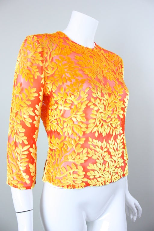 Versace Brightly-Colored Cut Velvet Blouse 3