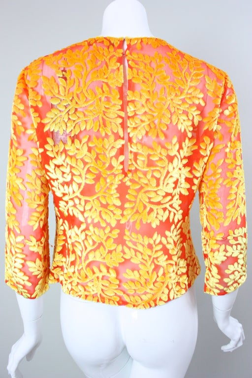Versace Brightly-Colored Cut Velvet Blouse 5