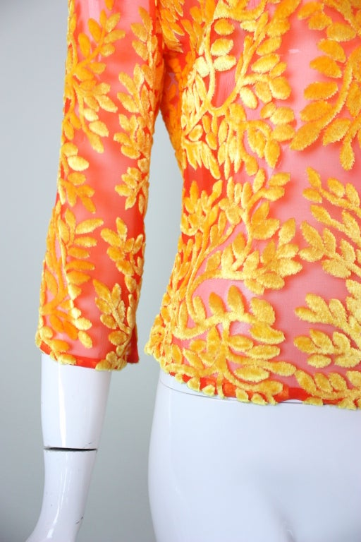 Versace Brightly-Colored Cut Velvet Blouse 6