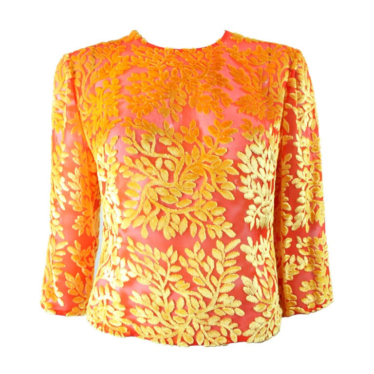 Versace Brightly-Colored Cut Velvet Blouse 1
