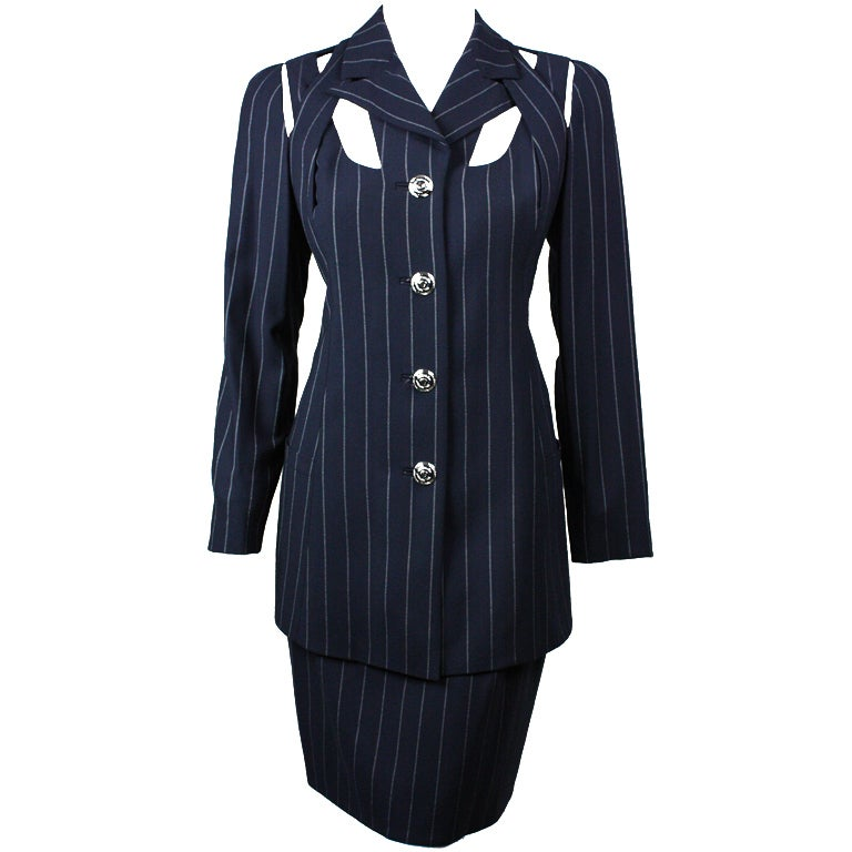 Gianni Versace Pinstriped Suit with Cut-Out Detailing