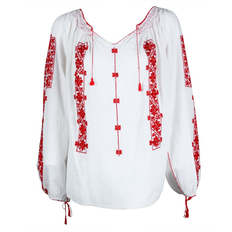 White Peasant Blouse Red Embroidery 70