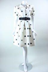 1980's Oscar De La Renta Polka-Dotted Cocktail Dress thumbnail 3