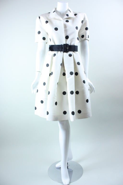 1980's Oscar De La Renta Polka-Dotted Cocktail Dress image 3