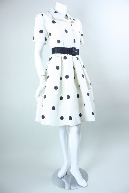 1980's Oscar De La Renta Polka-Dotted Cocktail Dress image 4