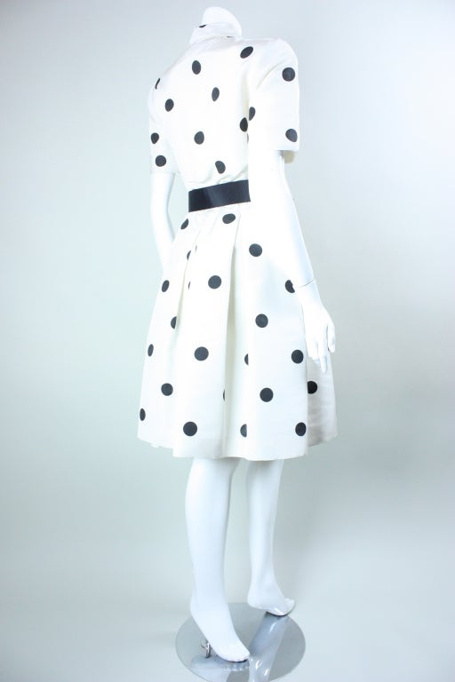 1980's Oscar De La Renta Polka-Dotted Cocktail Dress image 5