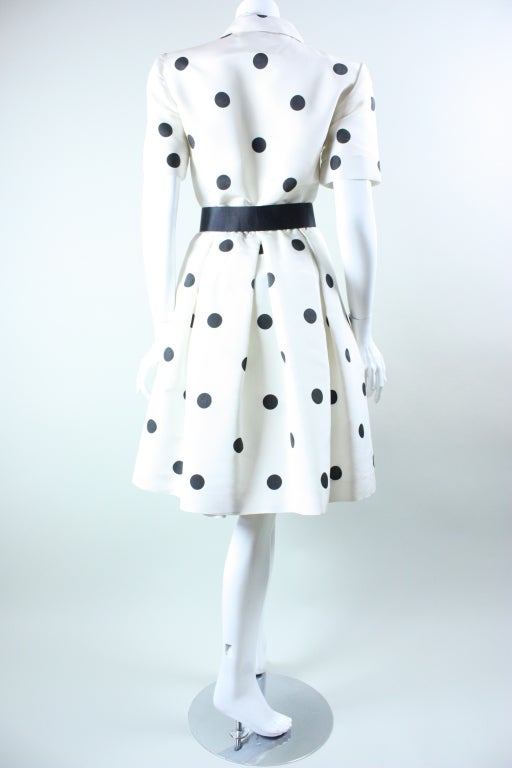1980's Oscar De La Renta Polka-Dotted Cocktail Dress image 6