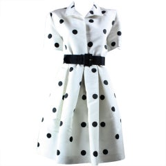 1980's Oscar De La Renta Polka-Dotted Cocktail Dress thumbnail 1