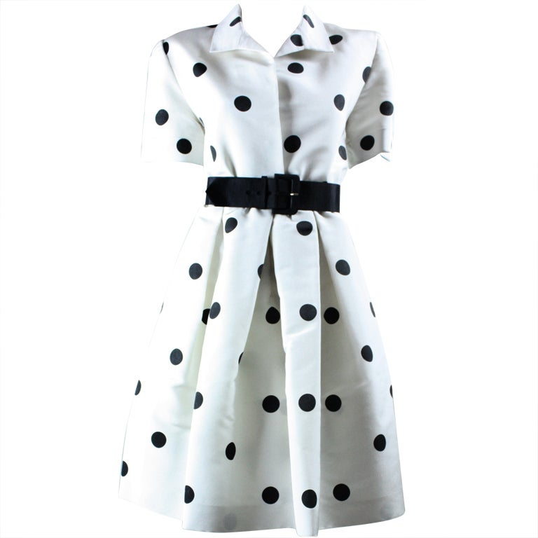 1980's Oscar De La Renta Polka-Dotted Cocktail Dress