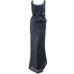 1960's Mollie Parnis Black Lace Gown
