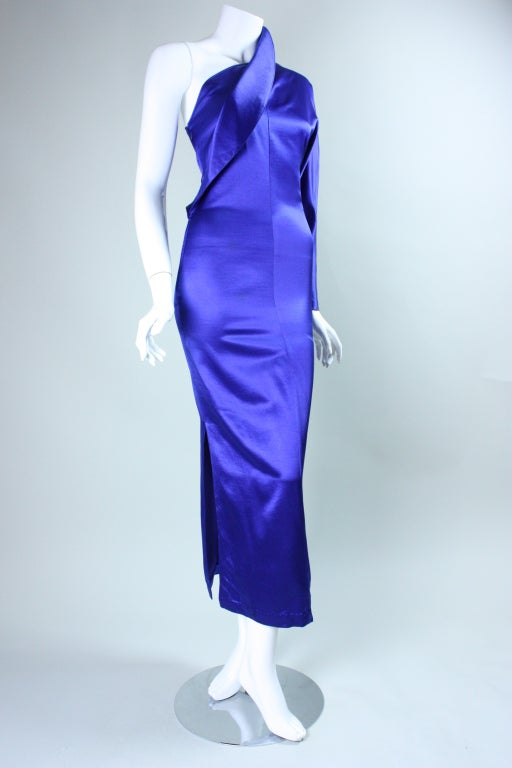 Purple Krizia One-Sleeved Gown For Sale