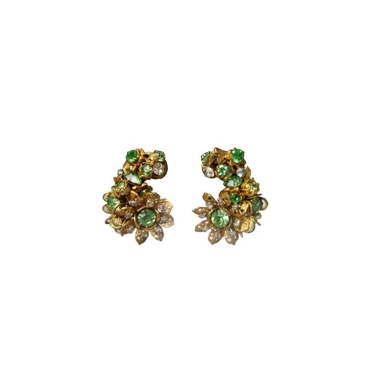 DeMario Rhinestone Filigree Earrings 1