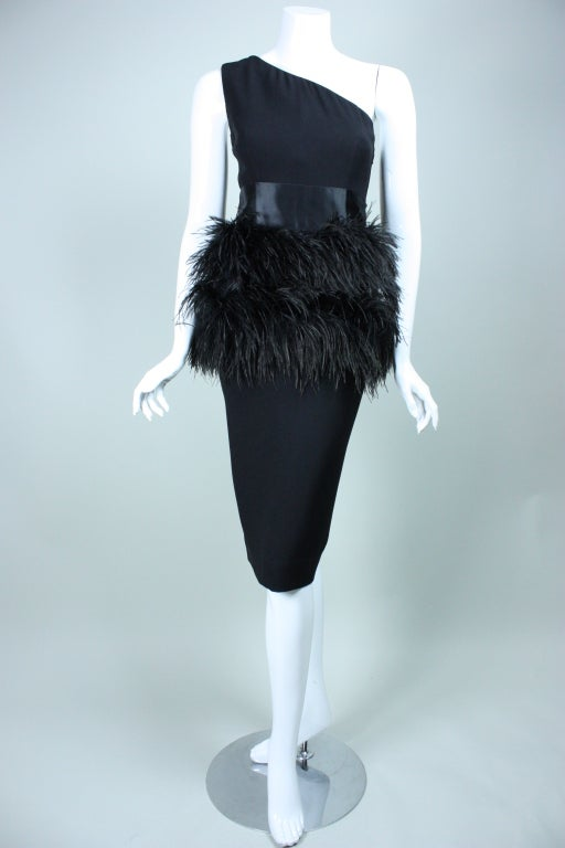 Carolyne Roehm One-Shouldered Cocktail Dress with Ostrich Feather Trim 2
