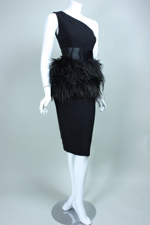 Carolyne Roehm One-Shouldered Cocktail Dress with Ostrich Feather Trim 3