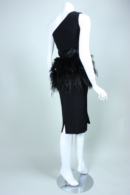Carolyne Roehm One-Shouldered Cocktail Dress with Ostrich Feather Trim 4