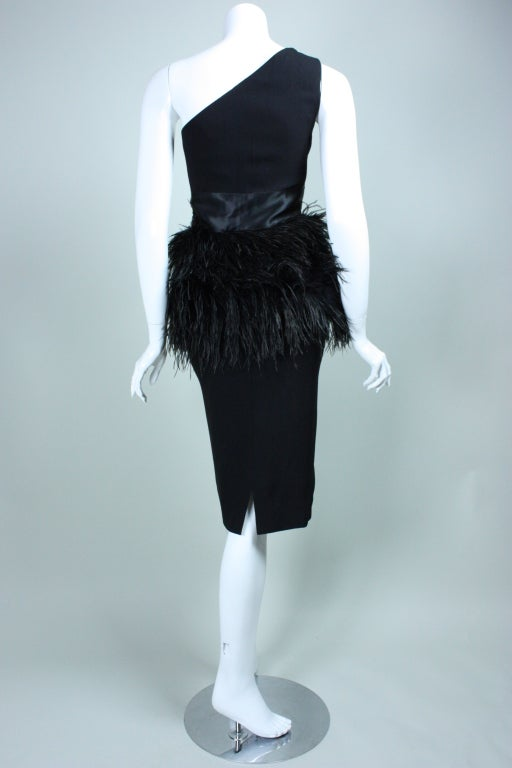 Carolyne Roehm One-Shouldered Cocktail Dress with Ostrich Feather Trim 5