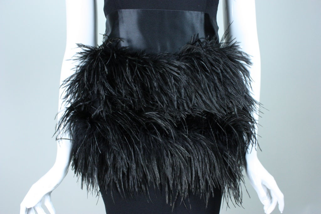 Carolyne Roehm One-Shouldered Cocktail Dress with Ostrich Feather Trim 7