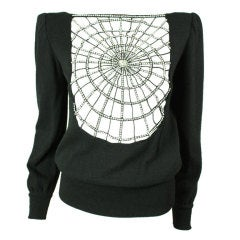 Valentino Cashmere Sweater with Rhinestone Spiderweb