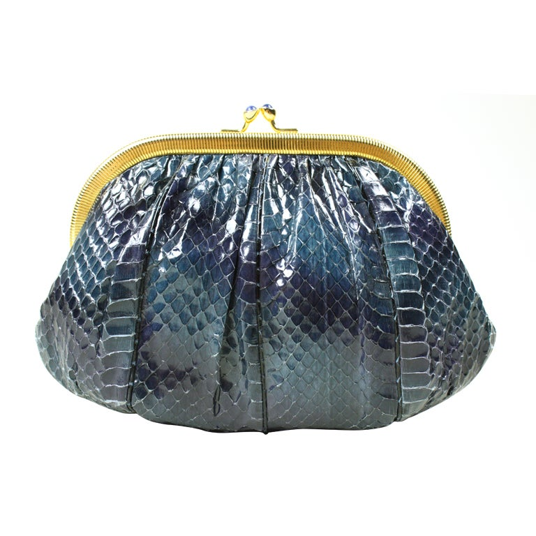 Judith Leiber Navy Blue Snakeskin Evening Bag