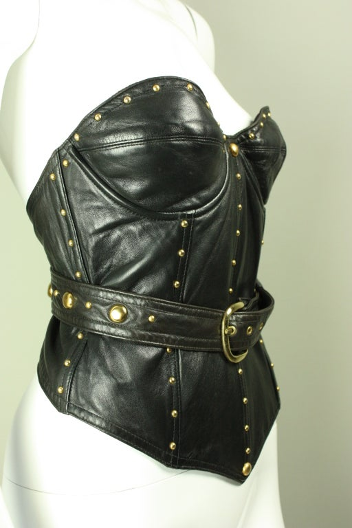 Early Isaac Mizrahi Black Leather Bustier At 1stdibs