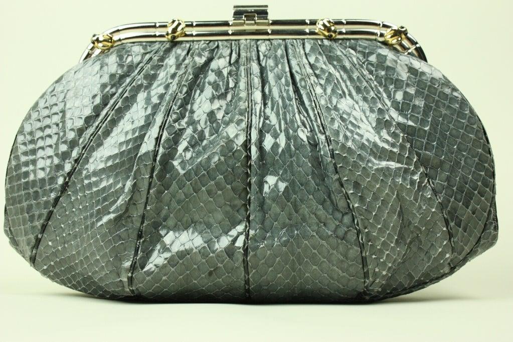 Gray Judith Leiber Snakeskin Handbag with Frog Hardware For Sale