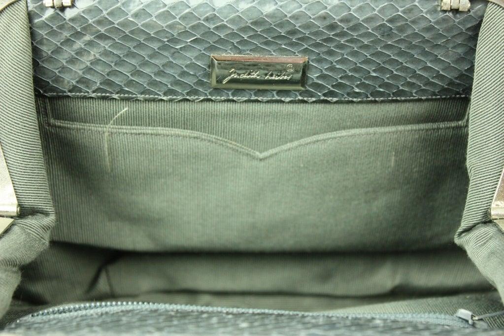 Judith Leiber Snakeskin Handbag with Frog Hardware For Sale 2