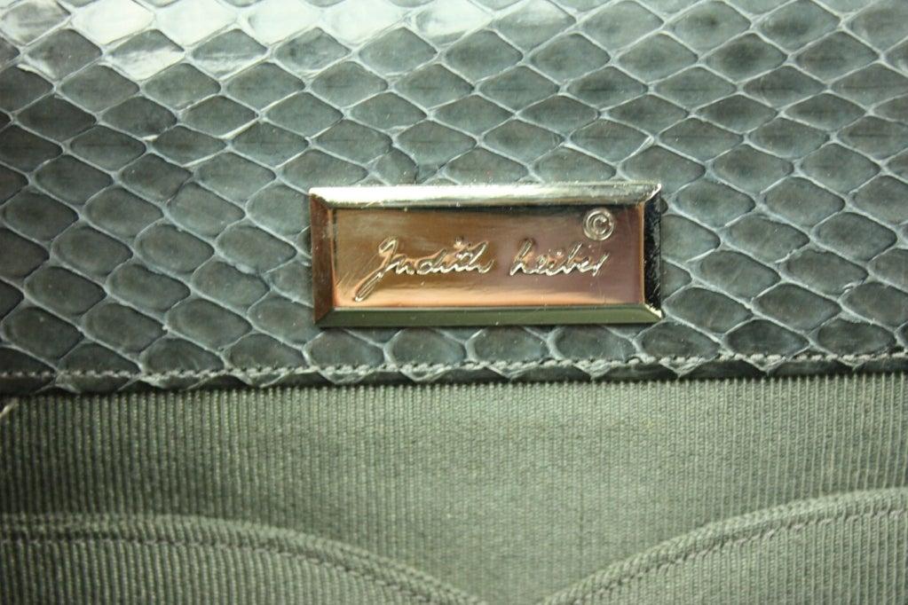 Judith Leiber Snakeskin Handbag with Frog Hardware For Sale 3