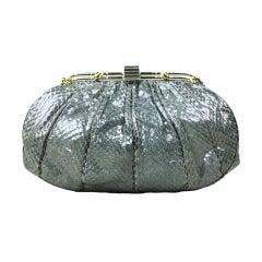 Judith Leiber Snakeskin Handbag with Frog Hardware