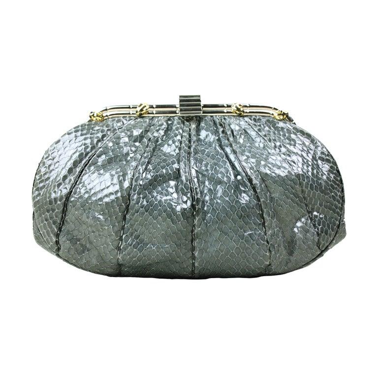 Judith Leiber Snakeskin Handbag with Frog Hardware For Sale