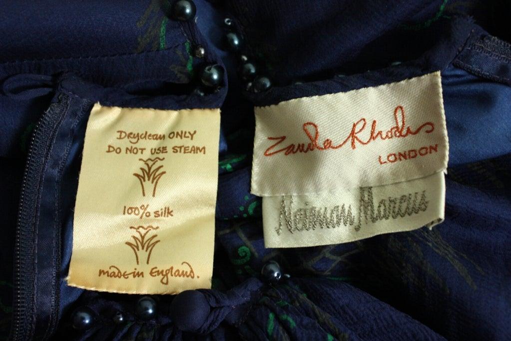 1980's Zandra Rhodes Hand-Painted Chiffon Dress at 1stdibs
