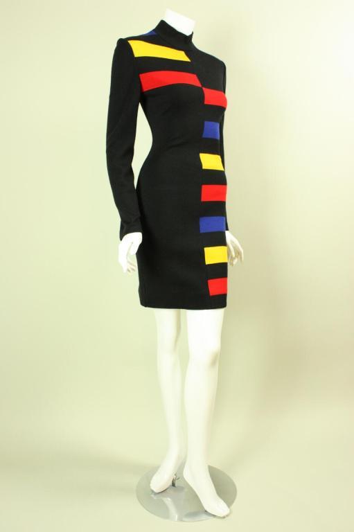 Black Patrick Kelly Color-Blocked Knit Dress For Sale