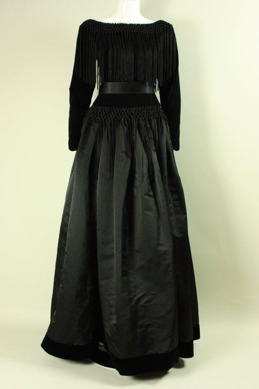 Black Silk and Velvet Fringed Gown 2