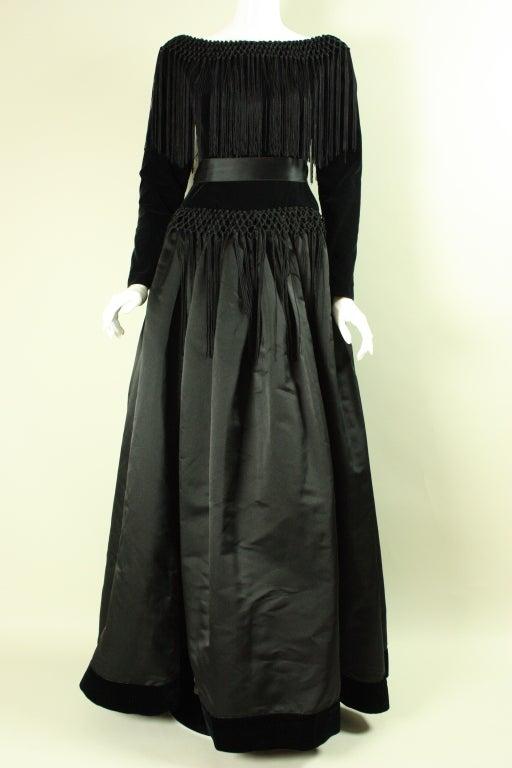 Black Silk And Velvet Fringed Gown For Sale At 1stdibs