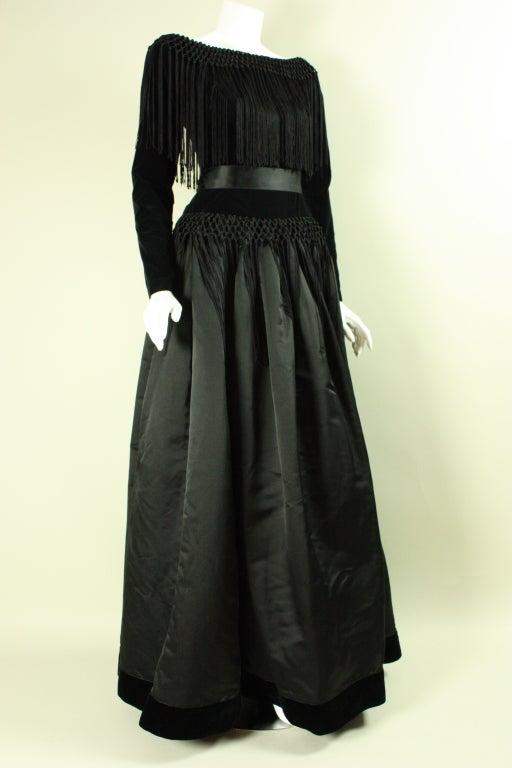 Black Silk and Velvet Fringed Gown 4
