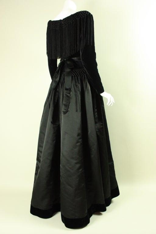 Black Silk and Velvet Fringed Gown 5